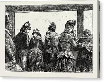 Visitors To The Eiffel Tower, Paris, France Canvas Print