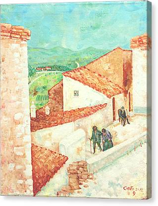 Canvas Print featuring the painting Vista Cimitero - Forenza by Giovanni Caputo
