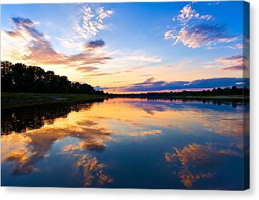 Vistula River Sunset Canvas Print by Tomasz Dziubinski