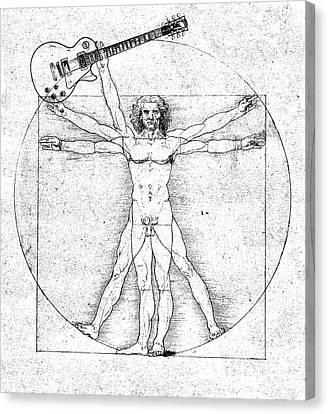 Vitruvian Guitar Man Bw Canvas Print by Jon Neidert
