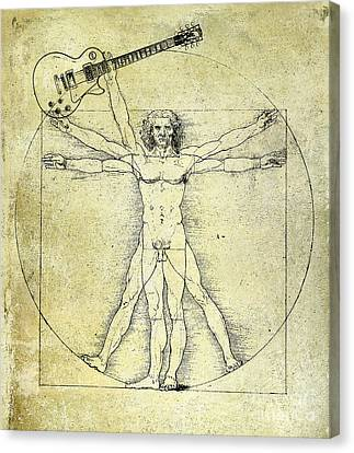 Vitruvian Guitar Man Canvas Print by Jon Neidert