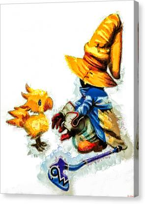Vivi And The Chocobo Canvas Print by Joe Misrasi