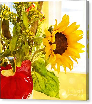 Vivid Cheery Sunflower Bouquet Canvas Print by Maria Janicki
