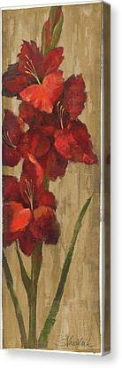 Vivid Red Gladiola On Gold Canvas Print