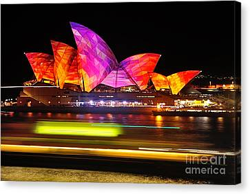 Vivid Sydney By Kaye Menner - Opera House ... Triangles Canvas Print by Kaye Menner