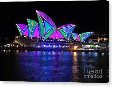 Vivid Sydney By Kaye Menner - Opera House... Patterns 2 Canvas Print by Kaye Menner