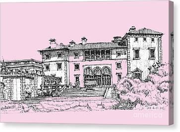 Vizacaya Museum In Baby Pink  Canvas Print