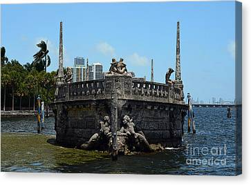 Vizcaya Breakwater Ship Bow And Skyline Biscayne Bay Coconut Grove Miami Florida Poster Edges Canvas Print by Shawn O'Brien