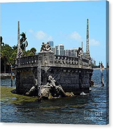 Vizcaya Breakwater Ship Bow And Skyline Biscayne Bay Miami Florida Square Format Poster Edges Canvas Print by Shawn O'Brien