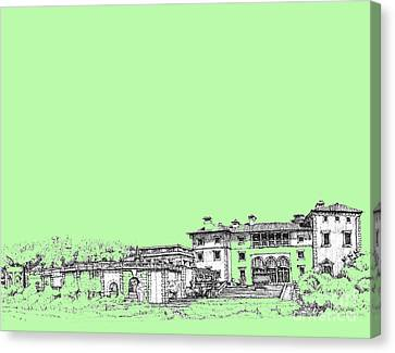 Vizcaya In Lime-green Canvas Print by Building  Art