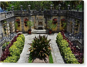 Vizcaya Mansion Museum Grounds Botanical Gardens Courtyard Miami Florida Canvas Print by Shawn O'Brien