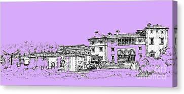 Vizcaya Museum And Gardens In Lilac Canvas Print
