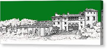 Vizcaya Museum And Gardens In Pine Green Canvas Print