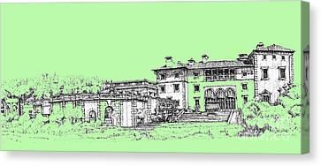 Vizcaya Museum And Gardens In Pistachio Green Canvas Print