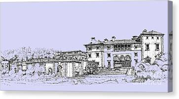 Vizcaya Museum And Gardens In Soft Blue Canvas Print