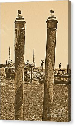 Rustic Canvas Print - Vizcaya Museum Boat Dock Posts And Stone Ship Breakwater Biscayne Bay Miami Rustic Digital Art by Shawn O'Brien