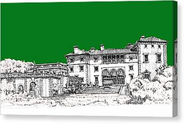 Vizcaya Museum In Green Canvas Print by Building  Art