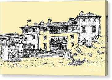 Peaches Canvas Print - Vizcaya Museum In Light Peach by Building  Art