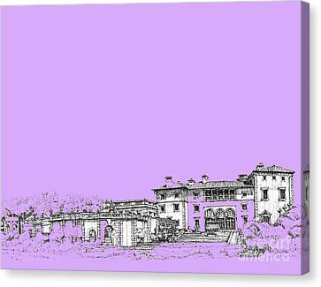 Vizcaya Museum In Lilac Canvas Print by Building  Art