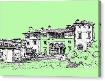 Vizcaya Museum In Pistachio Canvas Print