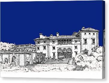 Vizcaya Museum In Royal Deep Blue Canvas Print