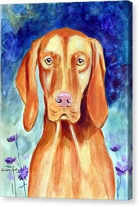 Vizsla In Mom's Garden Canvas Print by Lyn Cook