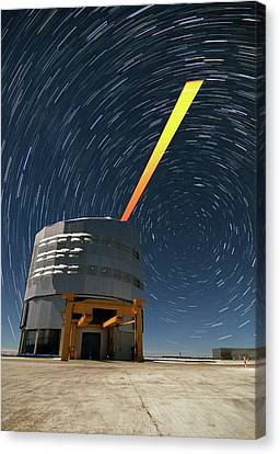 Vlt And Laser Guide Under Star Trails Canvas Print