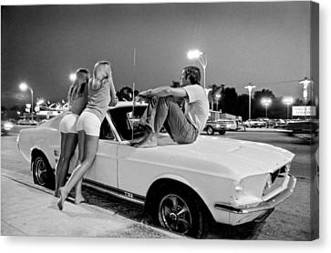 60s Canvas Print - Vn Blvd.-001-31 White Fastbacks by Richard Rick Mack McCloskey
