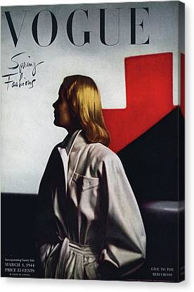 Fashion Model Canvas Print - Vogue Cover Featuring A Model Wearing A White by Horst P. Horst