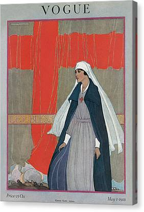 1918 Canvas Print - Vogue Cover Featuring A Nurse by Porter Woodruff