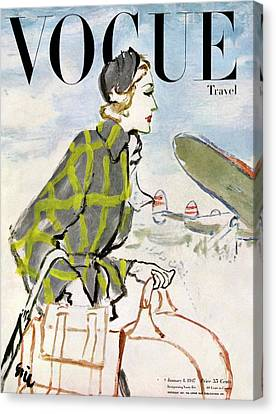 Passenger Plane Canvas Print - Vogue Cover Featuring A Woman Carrying Luggage by Carl Oscar August Erickson