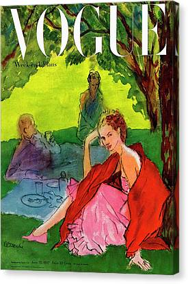 Vogue Cover Featuring A Woman Having A Picnic Canvas Print by Rene R. Bouche