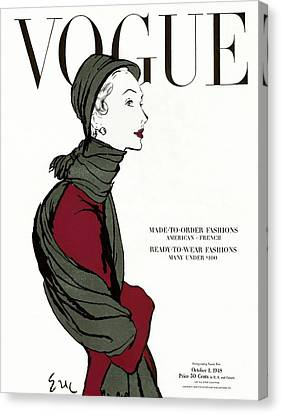 Vogue Cover Featuring A Woman In A Grey Scarf Canvas Print