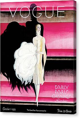 Earrings Canvas Print - Vogue Cover Featuring A Woman In An Evening Dress by William Bolin