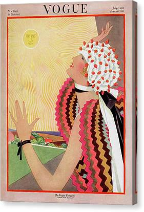 Vogue Cover Featuring A Woman Looking At The Sun Canvas Print by George Wolfe Plank
