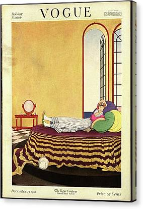 Vogue Cover Featuring A Woman Lying In Bed Canvas Print by George Wolfe Plank