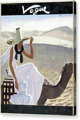 Colonial Man Canvas Print - Vogue Cover Featuring A Woman Riding A Camel by Pierre Mourgue