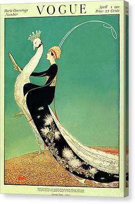 Peacock Canvas Print - Vogue Cover Featuring A Woman Sitting On A Giant by George Wolfe Plank