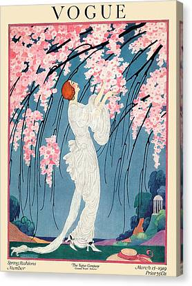 Cherry Tree Canvas Print - Vogue Cover Featuring A Woman Underneath A Cherry by Helen Dryden