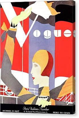 Goodbye Canvas Print - Vogue Cover Featuring A Woman Waving by Eduardo Garcia Benito
