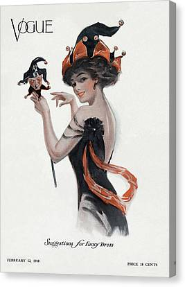 Vogue Cover Of Woman As Jester Canvas Print by Artist Unknown
