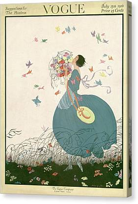 Vogue Cover Featuring Carrying A Bouquet Canvas Print by Helen Dryden