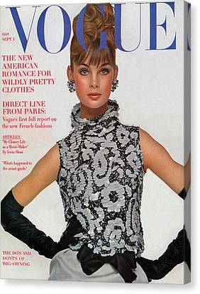 Glove Canvas Print - Vogue Cover Featuring Jean Shrimpton by Bert Stern