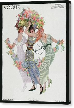 Vogue Cover Featuring Three Women With Flowers Canvas Print by Sarah Stilwell Weber