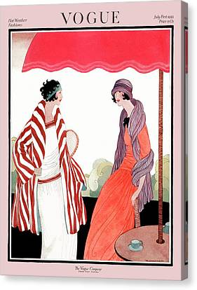Vogue Cover Featuring Two Women Under A Patio Canvas Print by Helen Dryden