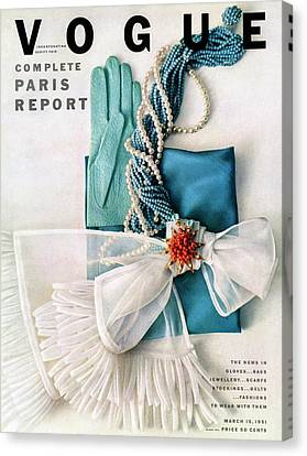 Vogue Cover Featuring Various Accessories Canvas Print by Richard Rutledge