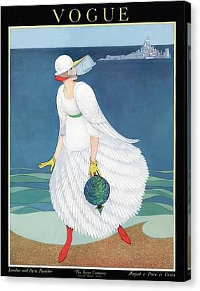 Vogue Cover Featuring Woman At A Beach Canvas Print by George Wolfe Plank