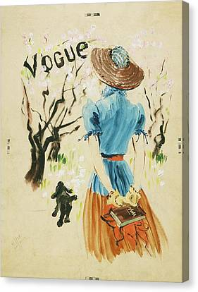 Vogue Cover Featuring Woman Walking Canvas Print by Rene Bouet-Willaumez