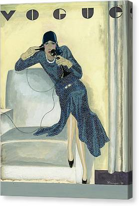 Vogue Cover Illustration Featuring Woman Talking Canvas Print
