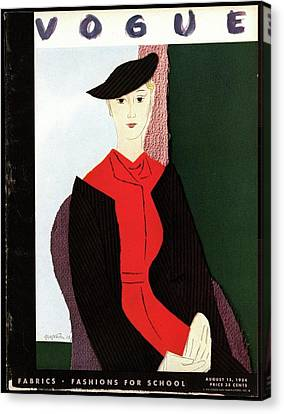 Vogue Cover Illustration Of A Blond Woman In Red Canvas Print by R.S. Grafstrom